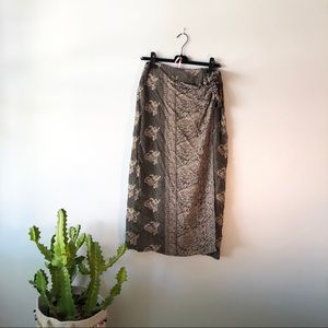 VINTAGE Black Maxi Wrap Tie Skirt